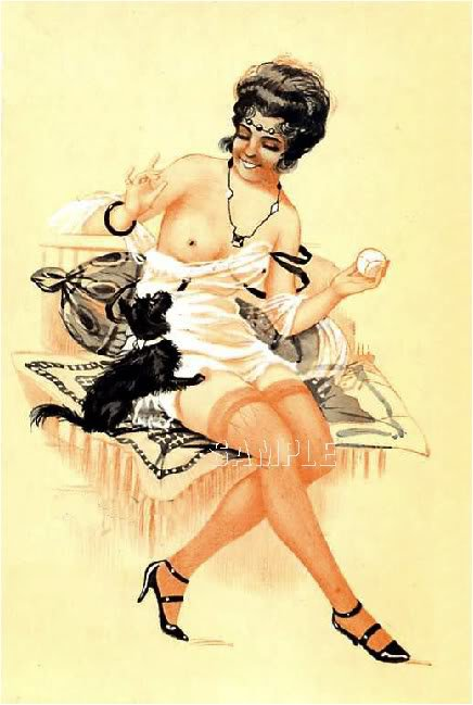 VINTAGE RISQUE FRENCH FLAPPER GIRL DOG CANVAS ART PRINT