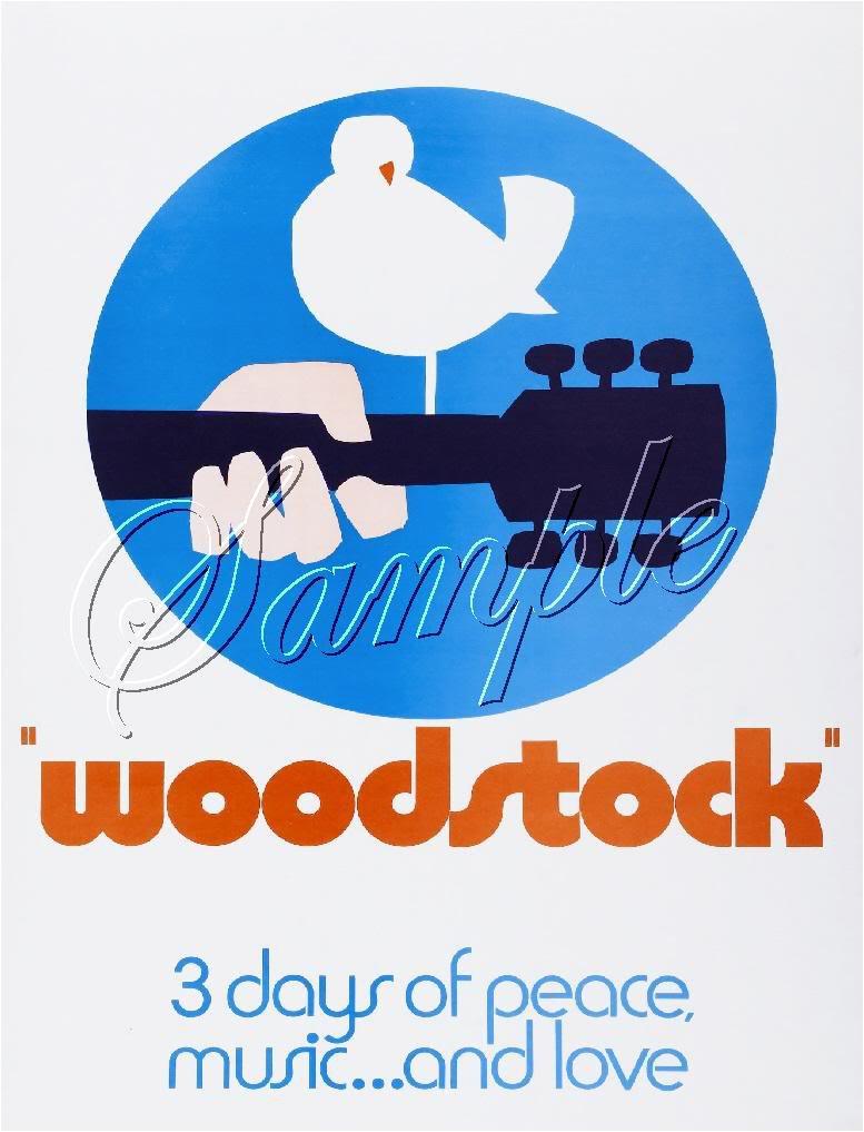 1969 WOODSTOCK FESTIVAL PEACE LOVE MUSIC CANVAS ART BIG