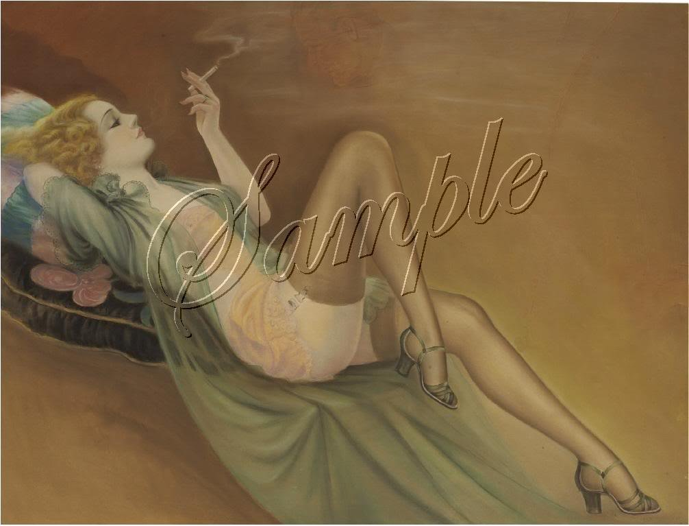 VINTAGE RISQUE PIN-UP GIRL SMOKE STOCKINGS CANVAS ART