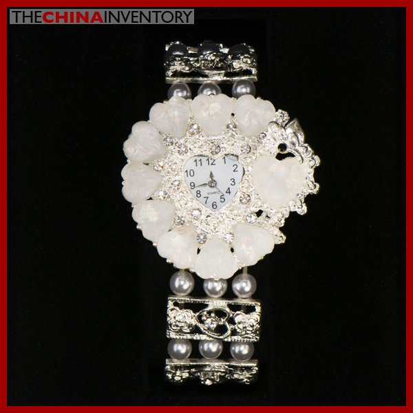 AUSTRIAN WHITE HEART CRYSTAL FLOWER BRACELET WATCH