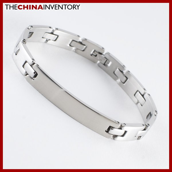 STAINLESS STEEL ID BRACELET WITH SINGLE HINGE DESIGN