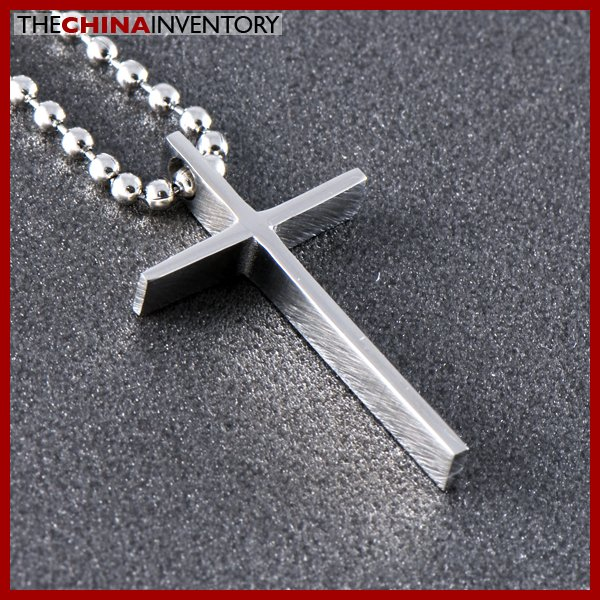 STAINLESS STEEL THIN CROSS PENDANT NECKLACE P0353