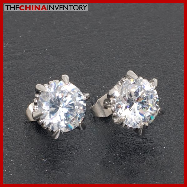 UNIQUE 10MM ROUND CZ  CROWN STUD EARRINGS E4007