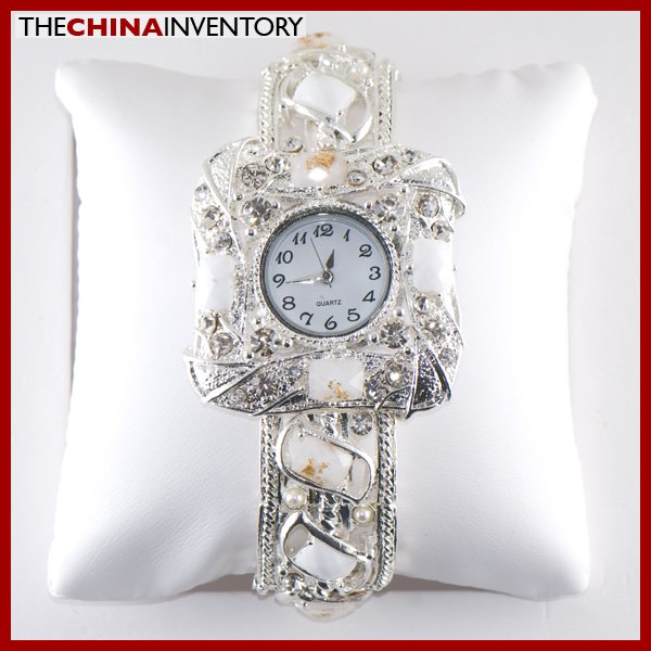 LADIES WHITE CRYSTAL FASHION BRACELET BANGLE WATCH