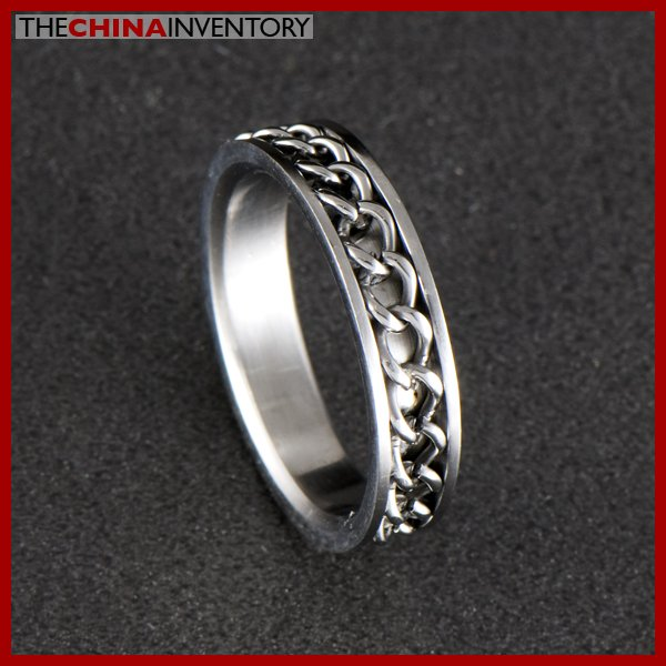 STAINLESS STEEL RING WITH EMBEDDED CHAIN SIZE 6 R0316