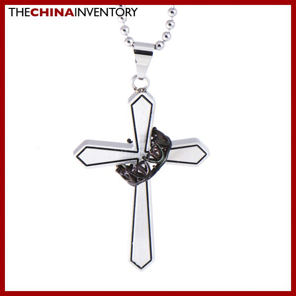 STAINLESS STEEL CROSS WITH RING PENDANT NECKLACE P0323B