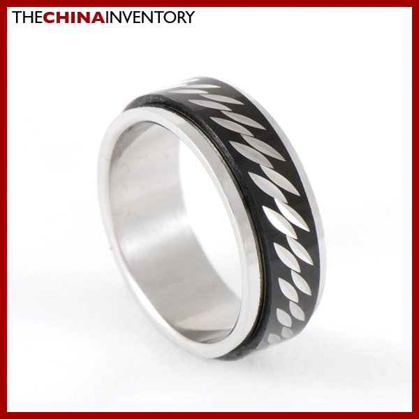 SIZE 7 STAINLESS STEEL BLACK SPINNING RING R0602