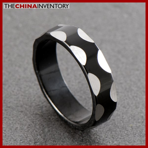 SIZE 7 STAINLESS STEEL BLACK SILVER RING R0604