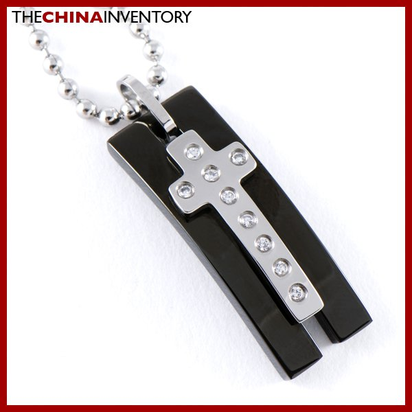 BLACK STAINLESS STEEL CZ CROSS TAG PENDANT P0722