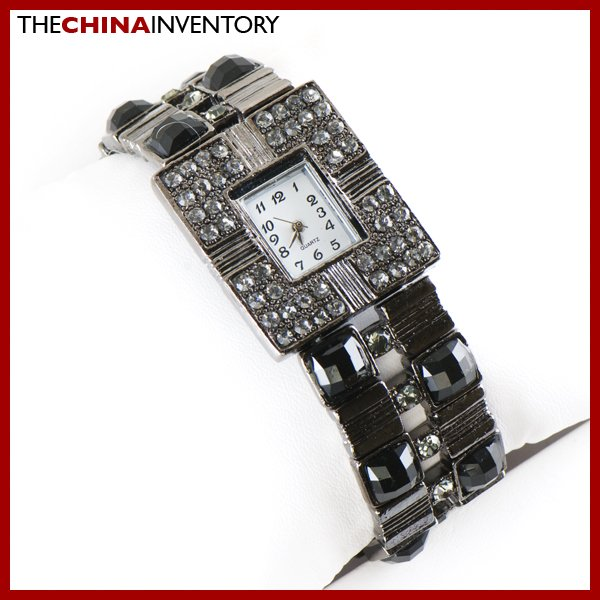 LADIES BRONZE TONE BLACK CRYSTAL BRACELET BANGLE WATCH