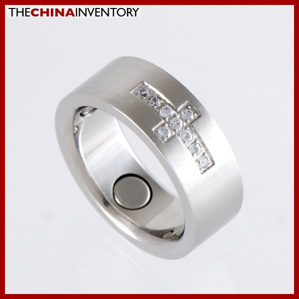 8MM SIZE 12 STAINLESS STEEL CZ CROSS BAND RING R1207