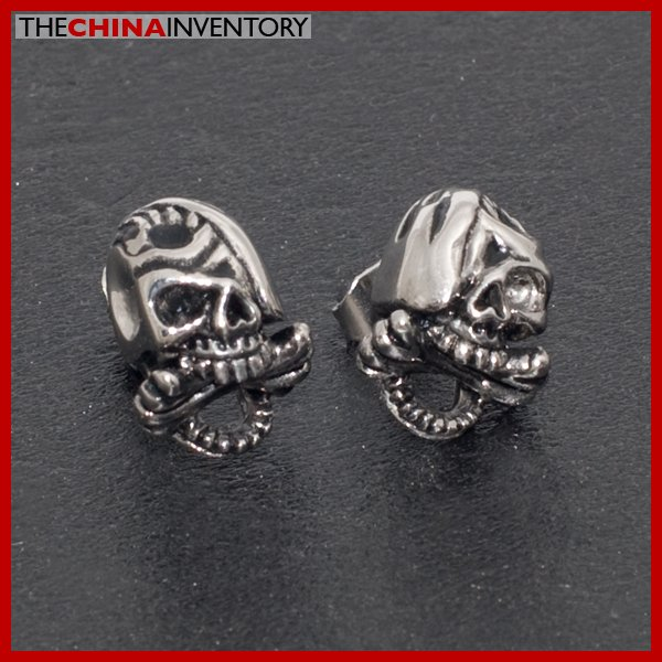 STAINLESS STEEL 3D SKULL STUD EARRINGS E4004