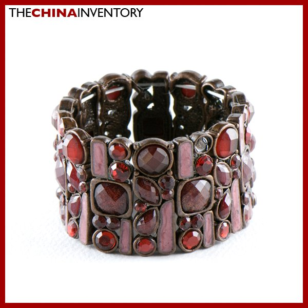 VICTORIAN STYLE BRASS RED CRYSTAL CUFF BANGLE B0231