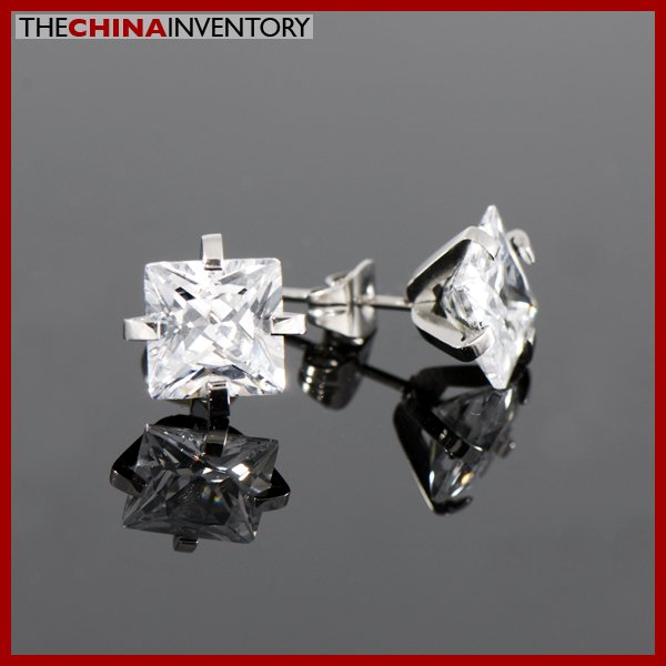 STAINLESS STEEL SQUARE CZ STUD EARRINGS E1110