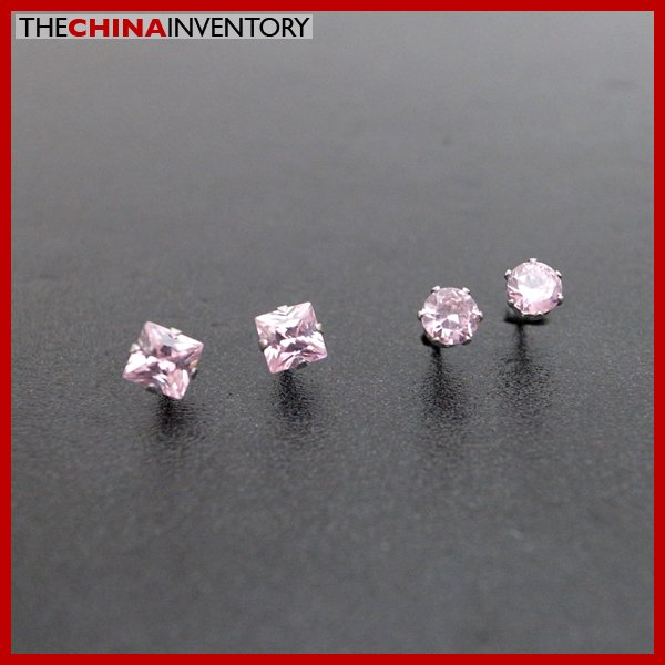 2 PAIRS STAINLESS STEEL PINK CZ STUD EARRINGS E4016G