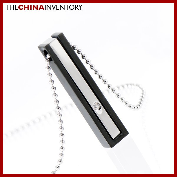 STAINLESS STEEL SLIM CZ TAG PENDANT NECKLACE P1116