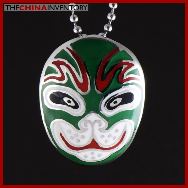 CHINESE OPERA STAINLESS STEEL FACE MASK PENDANT P0823