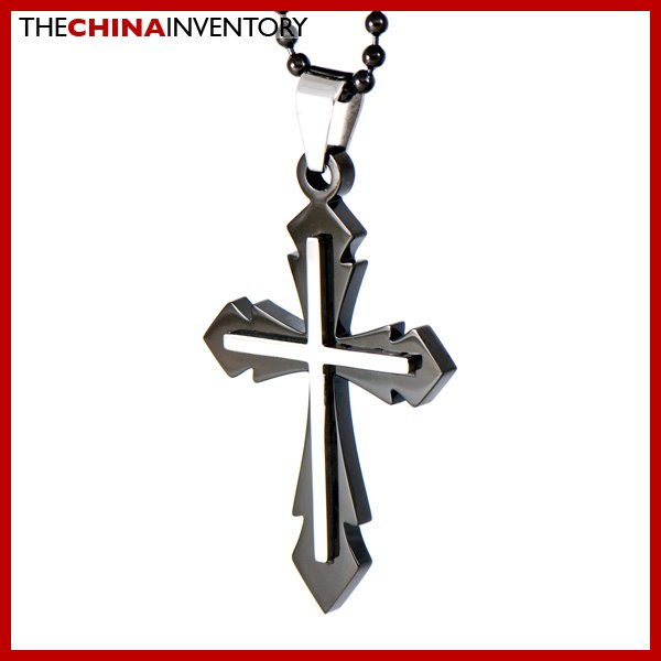 STAINLESS STEEL BLACK DOUBLE CROSS PENDANT P1611