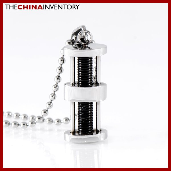 STAINLESS STEEL BLACK SCREW PENDANT NEKCLACE P1115A