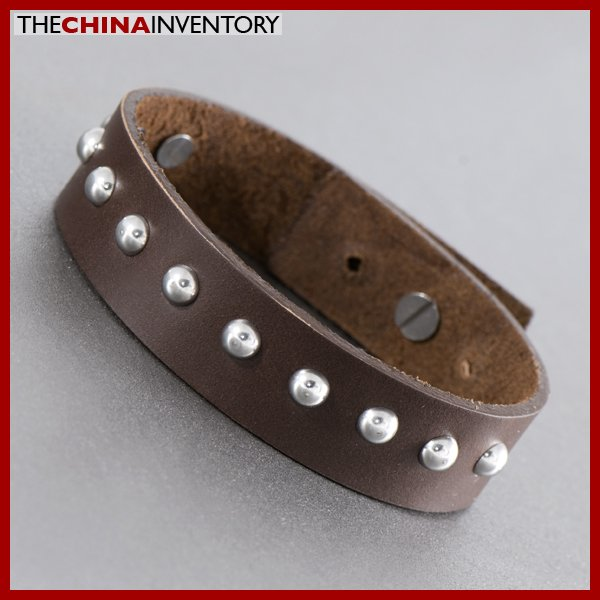 STAINLESS STEEL BEADS BROWN LEATHER BRACELET B1109