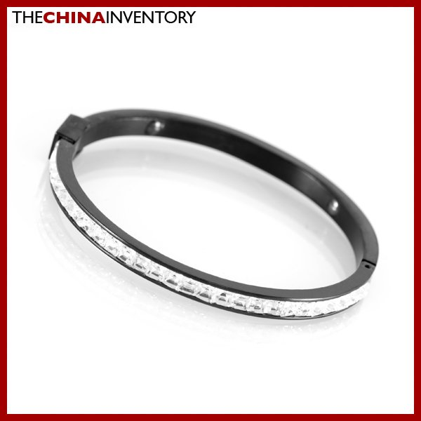 WOMEN STAINLESS STEEL CZ BLACK BANGLE BRACELETS B1511