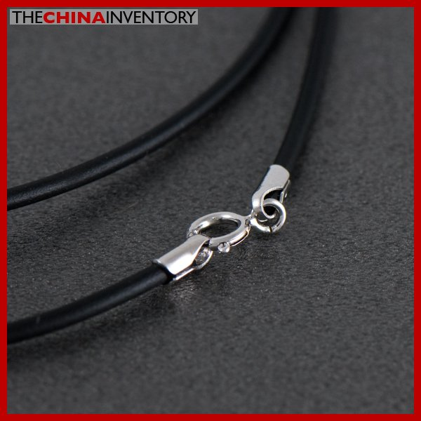 1MM STERLING SILVER CLASP BLACK CORD NECKLACE SIL1602A