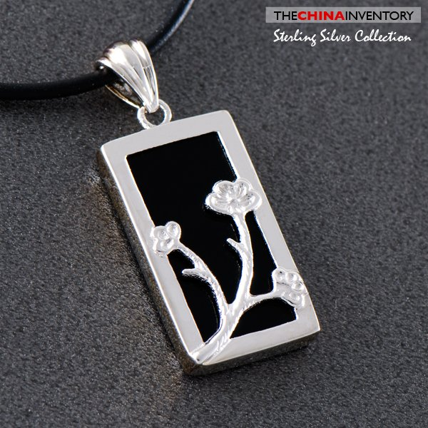 925 STERLING SILVER ONYX TAG PENDANT NECKLACE SIL0511