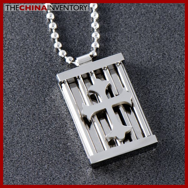 STAINLESS STEEL GOTHIC CROSS TAG PENDANT NECKLACE P0506