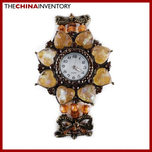 COPPER IMITATE CRYSTAL PEARL BRACELET WATCH W0310