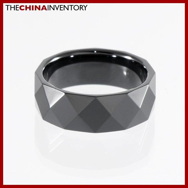 8MM SIZE 7 BLACK CERAMIC WEDDING BAND RING R0902B
