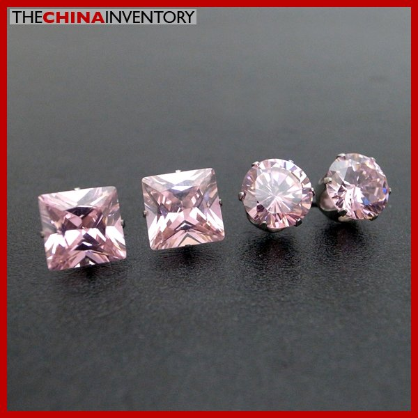 2 PAIRS STAINLESS STEEL PINK CZ STUD EARRINGS E4016B
