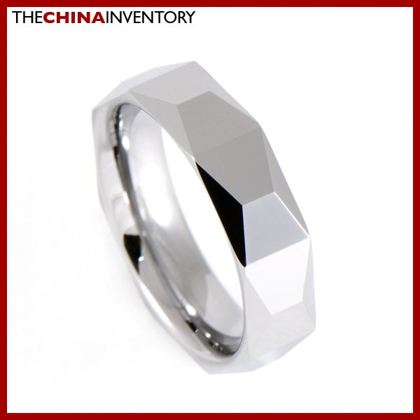 6MM SIZE 7.5 POLISHED FACETED TUNGSTEN BAND RING R0911B