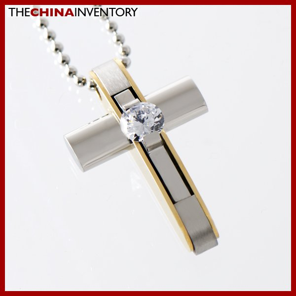 STAINLESS STEEL CZ TWO TONE CROSS PENDANT P1322