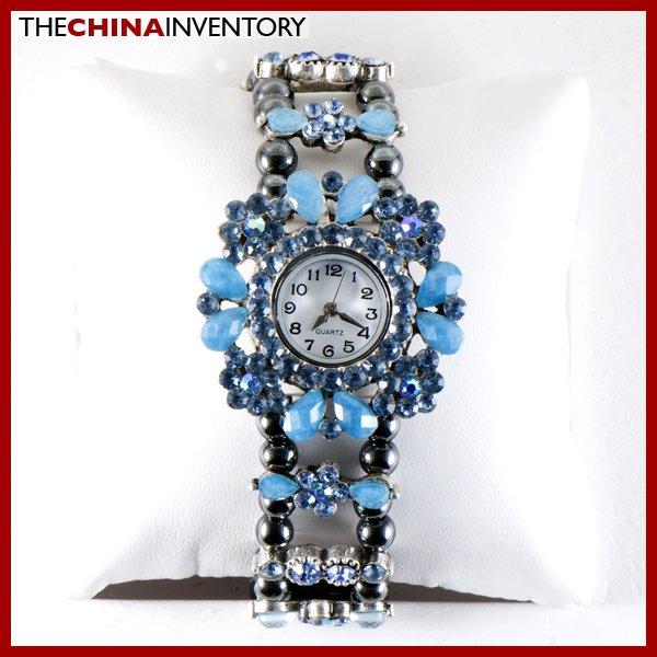 WOMEN'S BLUE CRYSTAL FLOWER BRACELET WATCH W0704