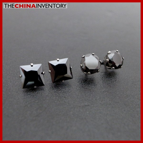 2 PAIRS STAINLESS STEEL BLACK CZ STUD EARRINGS E4017D