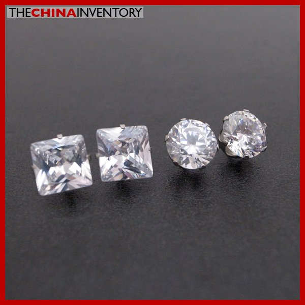 2 PAIRS STAINLESS STEEL CLEAR CZ STUD EARRINGS E4015C