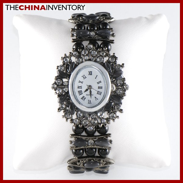 WOMEN'S BLACK CZ BRACELET OVAL WATCH W1402