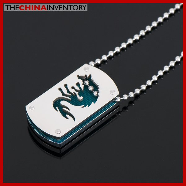 STAINLESS STEEL DUAL LAYER WOLF TAG PENDANT P1608