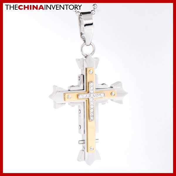 STAINLESS STEEL CZ GOLD TONE TRIPLE CROSS PENDANT P1621