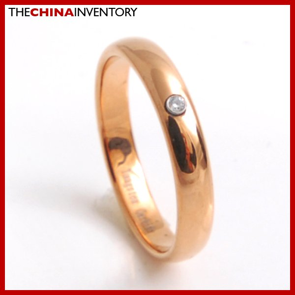 SIZE 5 TUNGSTEN CARBIDE CZ COPPER TON BAND RING R3812