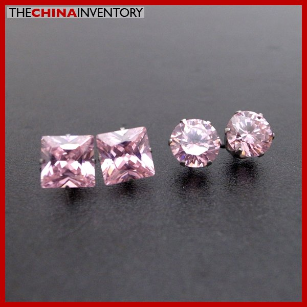 2 PAIRS STAINLESS STEEL PINK CZ STUD EARRINGS E4016C