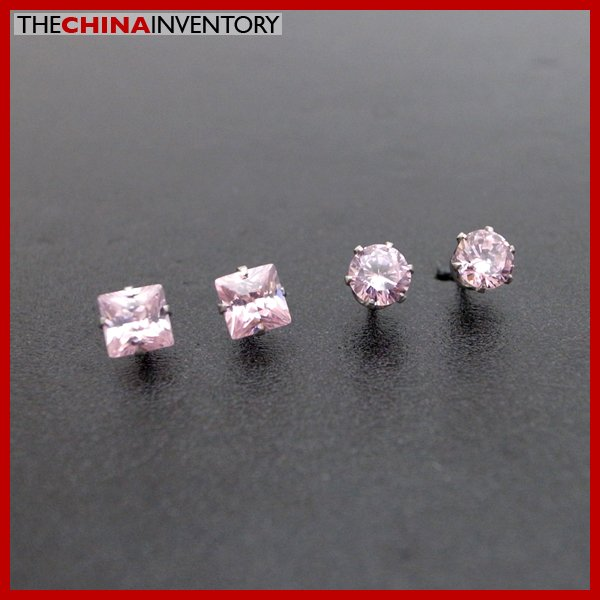2 PAIRS STAINLESS STEEL PINK CZ STUD EARRINGS E4016F