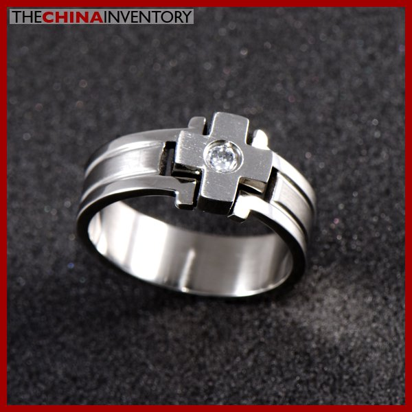 SIZE 8 STAINLESS STEEL CROSS RING R0405