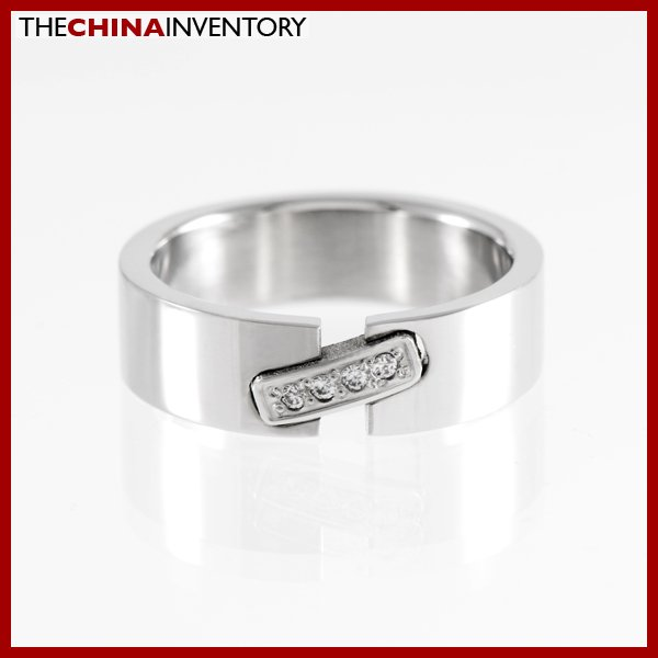 SIZE 7 STAINLESS STEEL CZ WEDDING BAND RING R1103