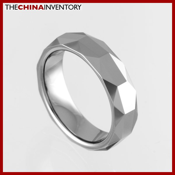 5.5MM SIZE 7 FACETED TUNGSTEN CARBIDE BAND RING R0917