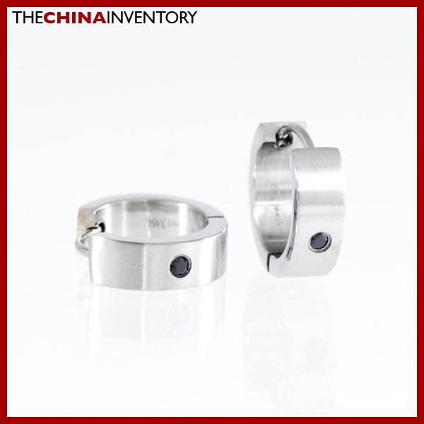 STAINLESS STEEL BLACK CZ HUGGIE HOOP EARRINGS E1103