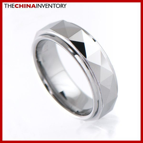 7MM SIZE 7.5 FACETED TUNGSTEN CARBIDE BAND RING R0907