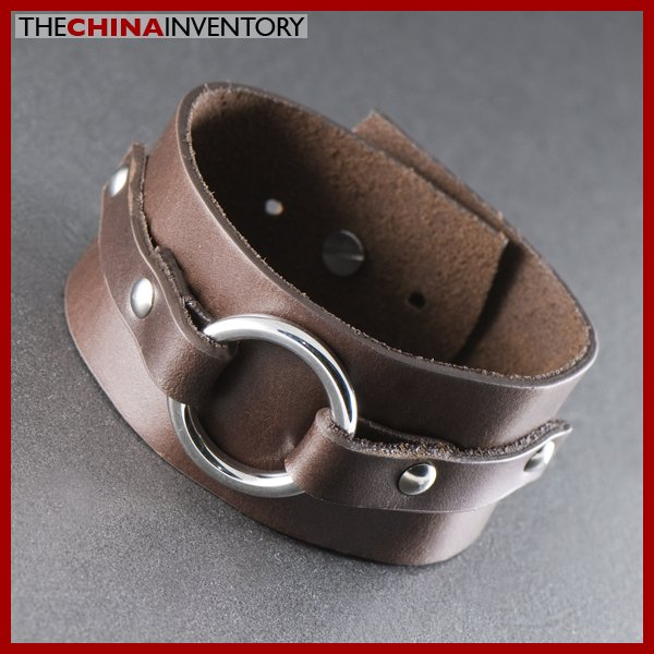 BROWN LEATHER STAINLESS STEEL BANGLE BRACELET B1311A