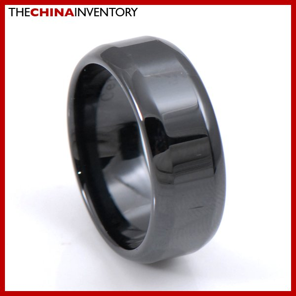 8MM SIZE 8 BLACK CERAMIC BEVELED EDGE BAND RING R3802