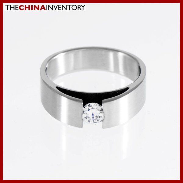 SIZE 8.5 STAINLESS STEEL CZ WEDDING BAND RING R1107